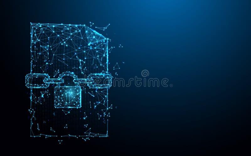 Archivieren Sie Verschlussikonen-Formlinien, Dreiecke und Partikelartdesign stock abbildung