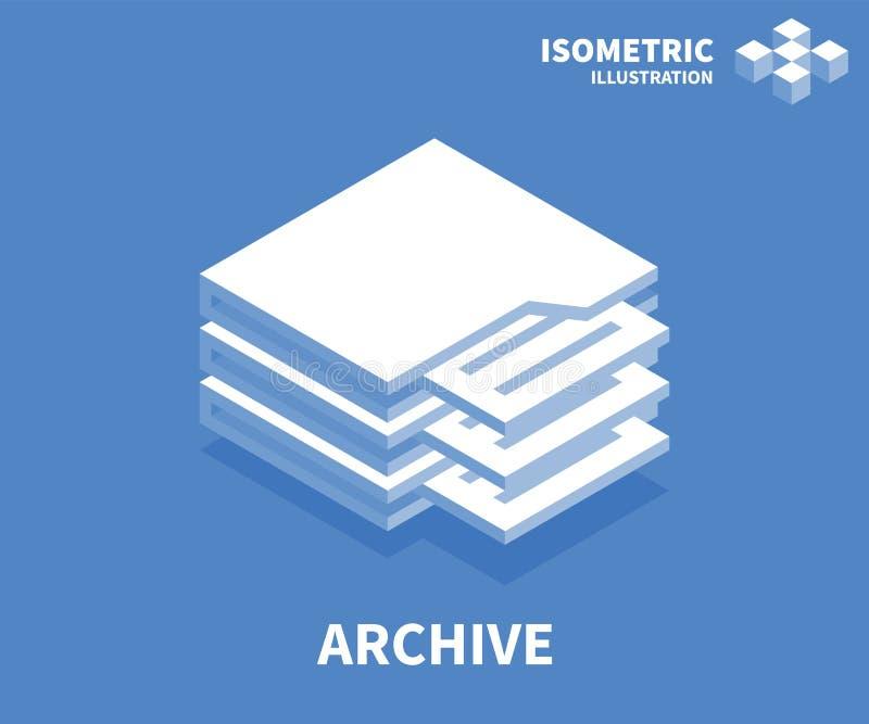 Archivikone Isometrische Schablone für Webdesign in der flachen Art 3D Auch im corel abgehobenen Betrag vektor abbildung