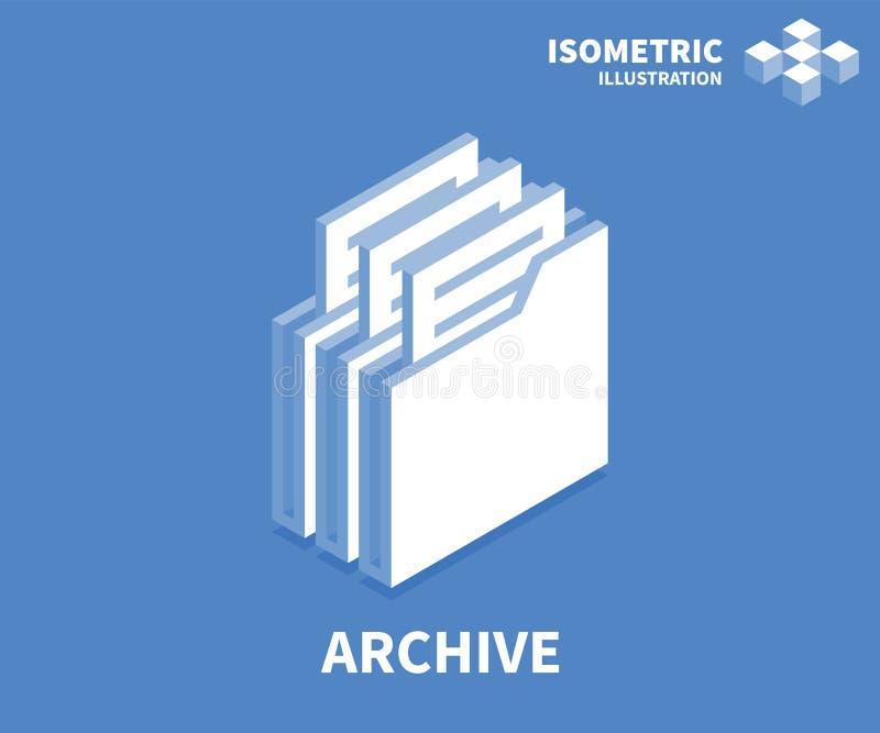 Archivikone Isometrische Schablone für Webdesign in der flachen Art 3D Auch im corel abgehobenen Betrag stock abbildung