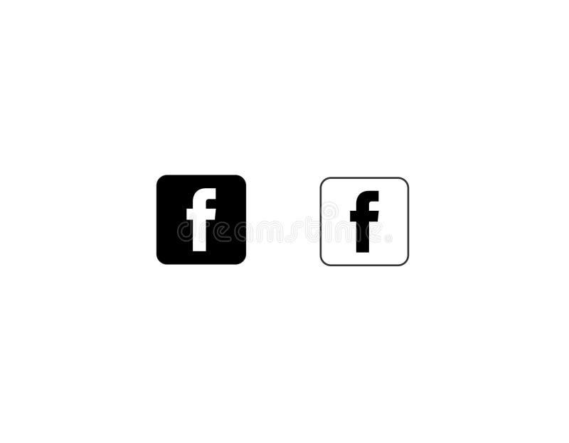 Archivio in bianco e nero di vettore del quadrato dell'icona di Facebook illustrazione di stock