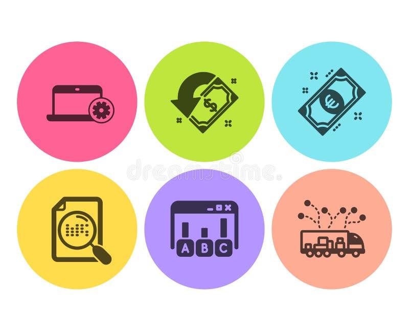 Archivio di ricerca, euro soldi ed insieme delle icone di risultati di indagine Servizio del taccuino, di accredito e segni di co illustrazione vettoriale