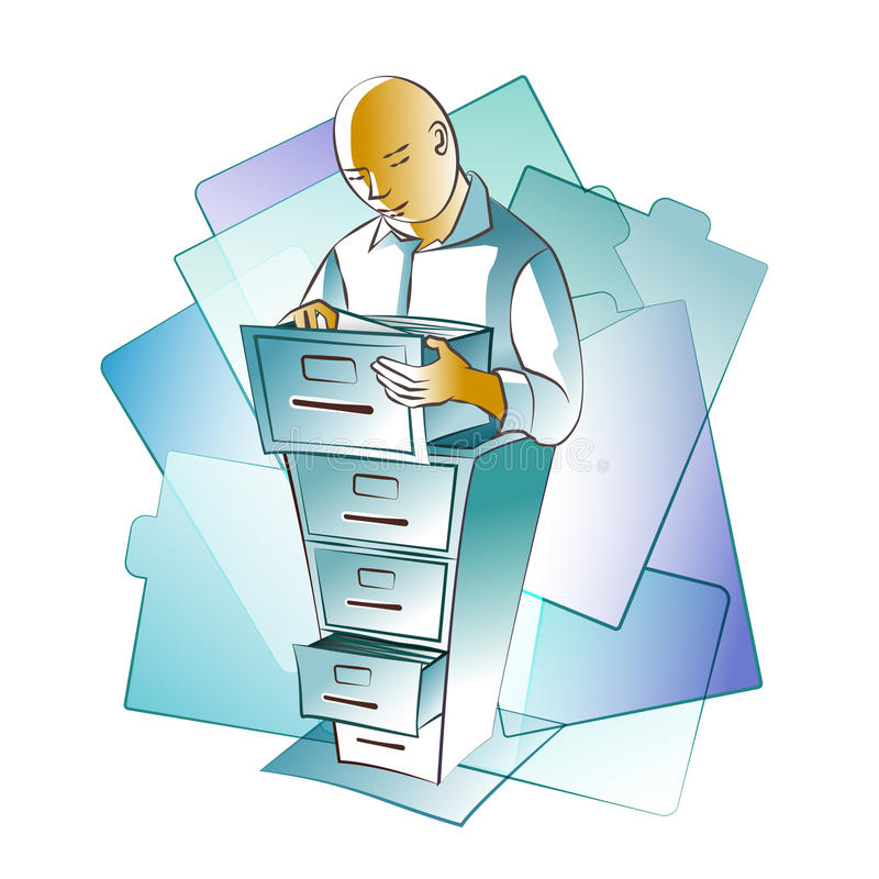 Archivist / Archives. An archivist keeping record of the archives royalty free illustration
