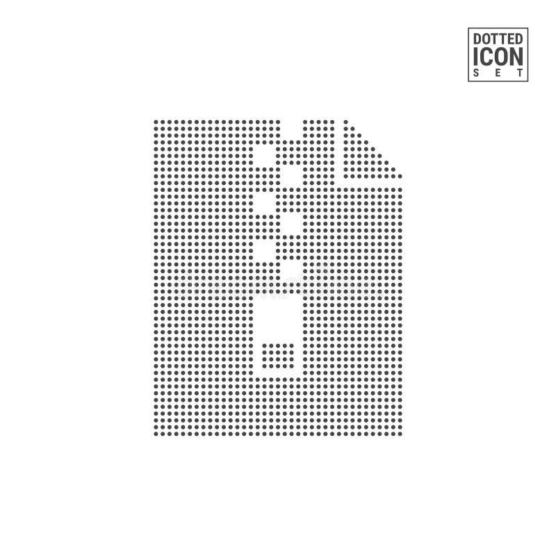 Archivo Dot Pattern Icon del fichero Icono punteado carpeta relampagado aislado en blanco Plantilla del fondo o del diseño del ve stock de ilustración