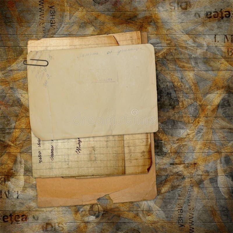 Archivo viejo con las cartas, fotos foto de archivo