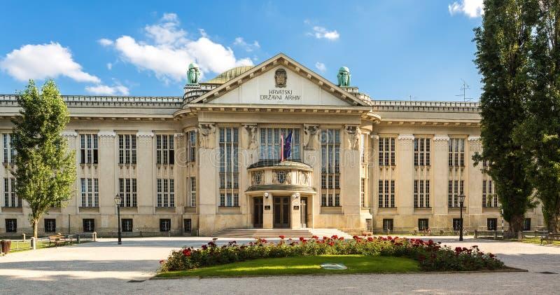 Archivos de estado nacionales croatas que construyen en Zagreb fotografía de archivo