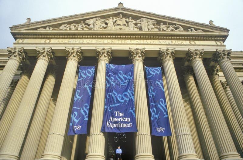 Archivos nacionales, hogar de la constitución, Washington, DC imagen de archivo libre de regalías
