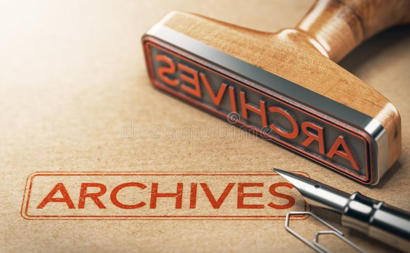 Archiwa, Archiwizujący dokumenty royalty ilustracja