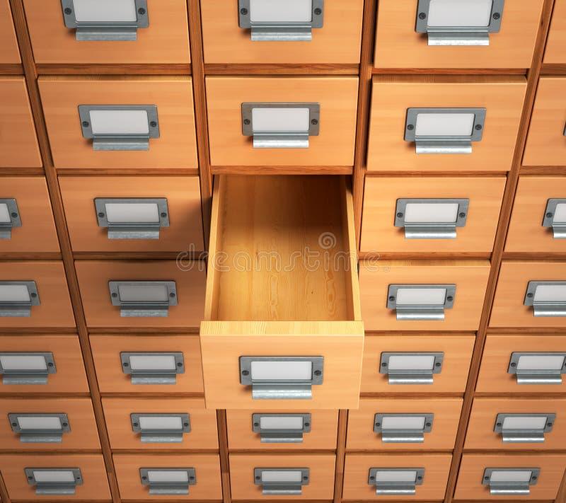 archiwa opróżnia kreślarza dla archiwalnych dokumentów 3d illustrati royalty ilustracja