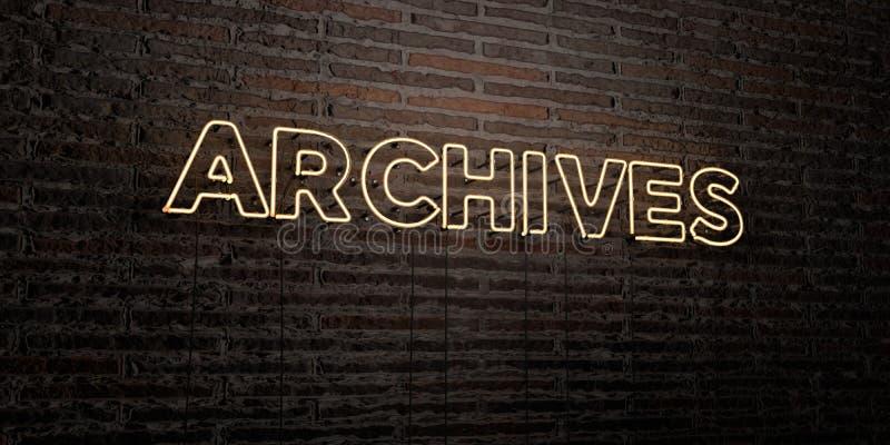 ARCHIWA - Realistyczny Neonowy znak na ściana z cegieł tle - 3D odpłacający się królewskość bezpłatny akcyjny wizerunek ilustracji