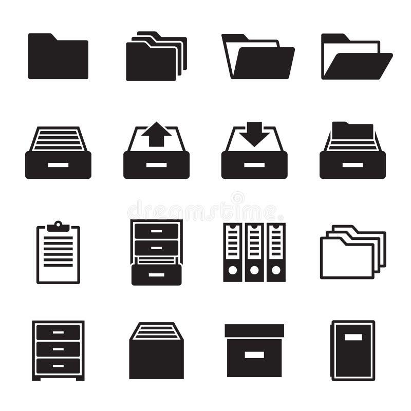 Archiwum, dokument ikony ustawiać ilustracja wektor