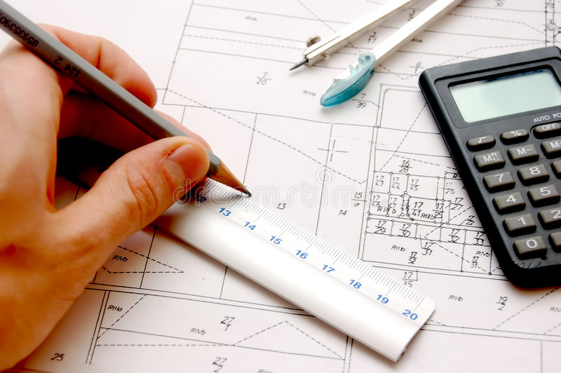 Archritect's work place stock photo
