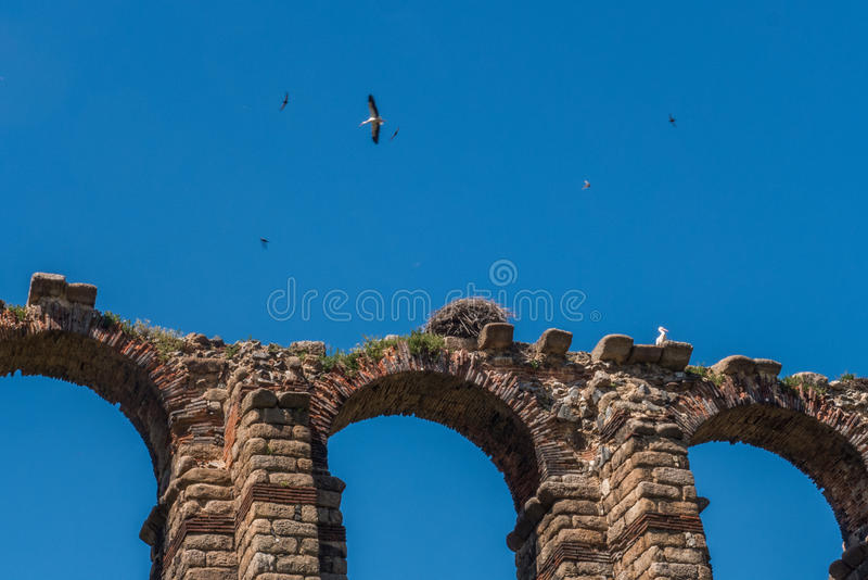 The archs of the aqueduct in Merida. stock image