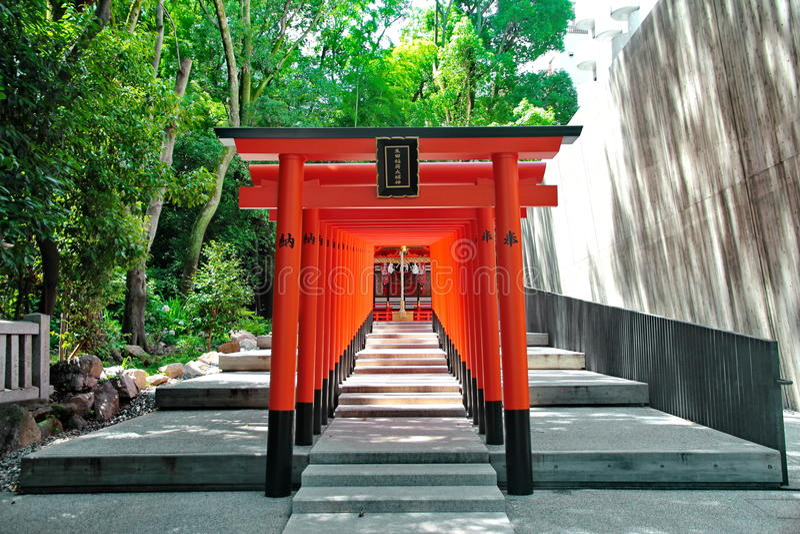 Archs vermelhos no santuário de Ikuta, Japão Foco selecionado fotos de stock