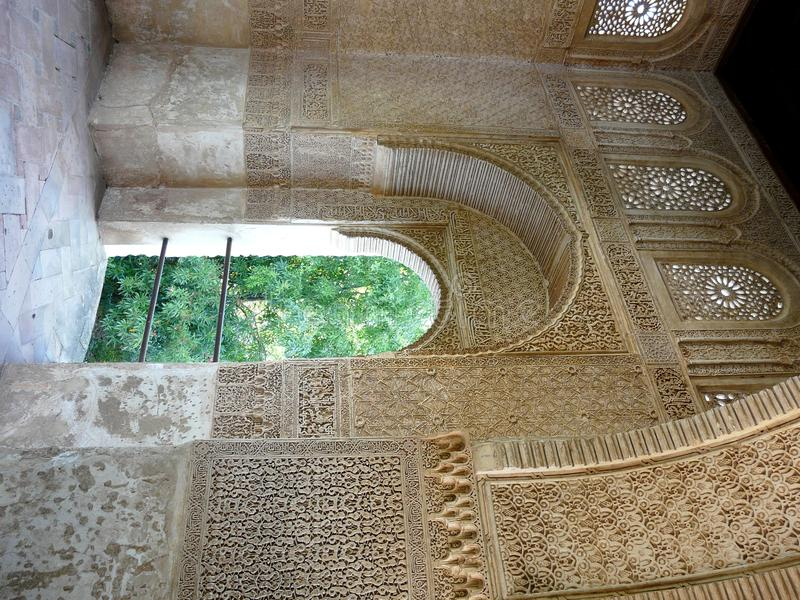 Archway at the Alhambra in Granada, Spain. Archway in the Palacio de Generalife at the Alhambra in Granada, Spain royalty free stock photos
