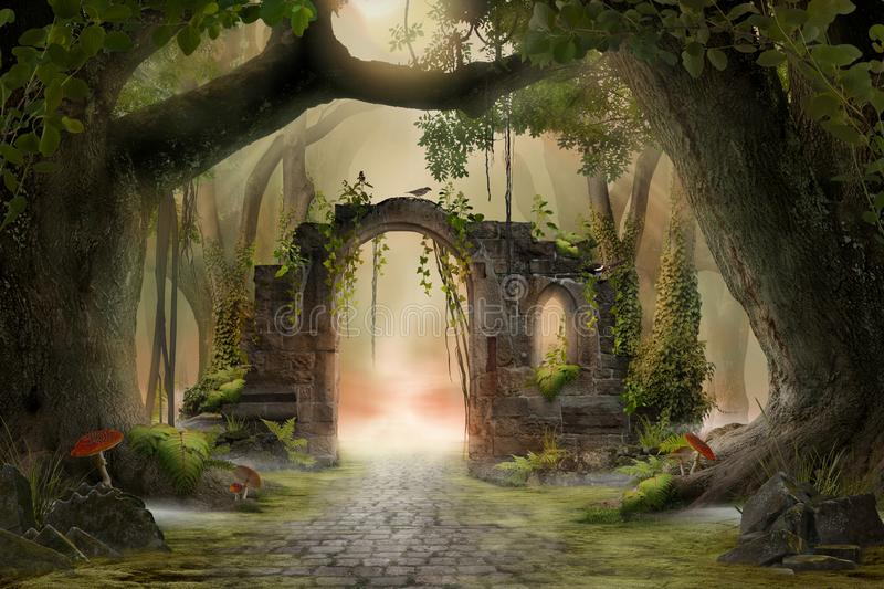 Archway in an enchanted fairy forest landscape, misty dark mood, vector illustration