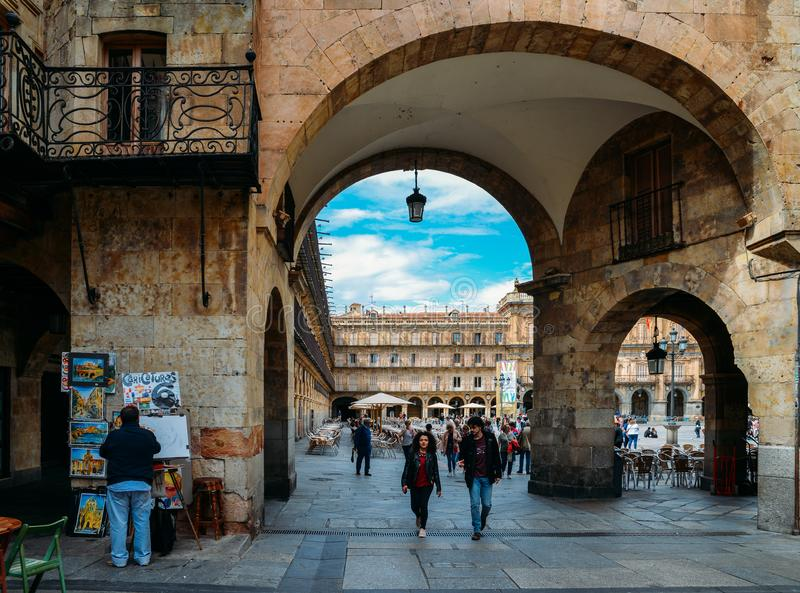 Archway entrance to the famous and historic Plaza Mayor in Salamanca, Castilla y Leon, Spain - UNESCO World Heritage stock photo