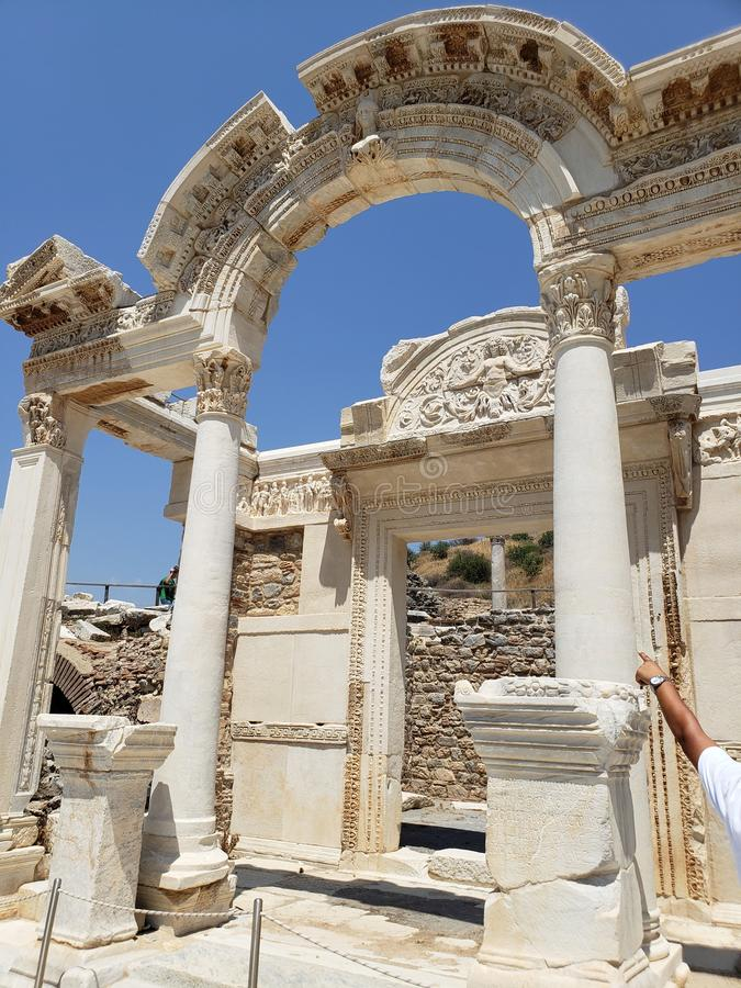 Archway in Ephesus, ancient ruins royalty free stock photos