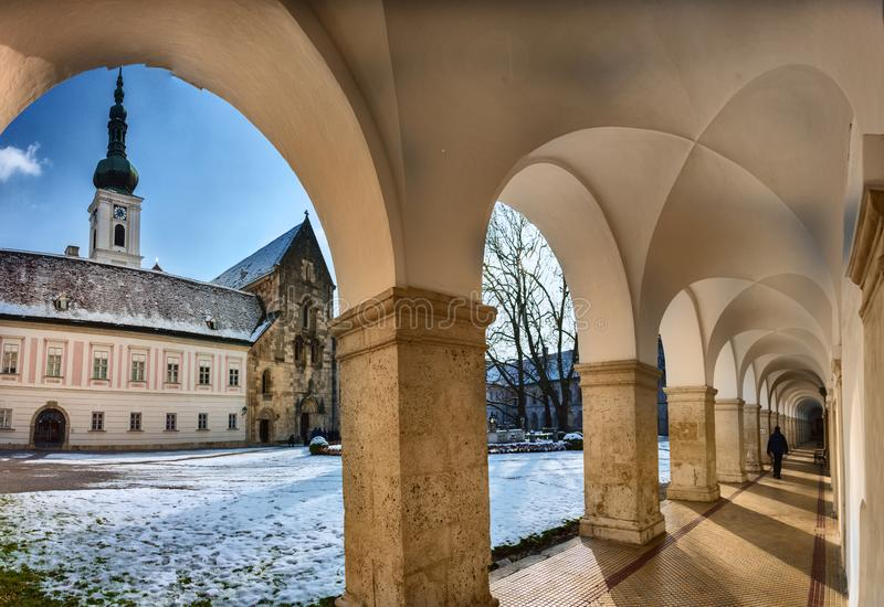 Archway and Inner Yard of the monastery of Heiligenkreuz stock image