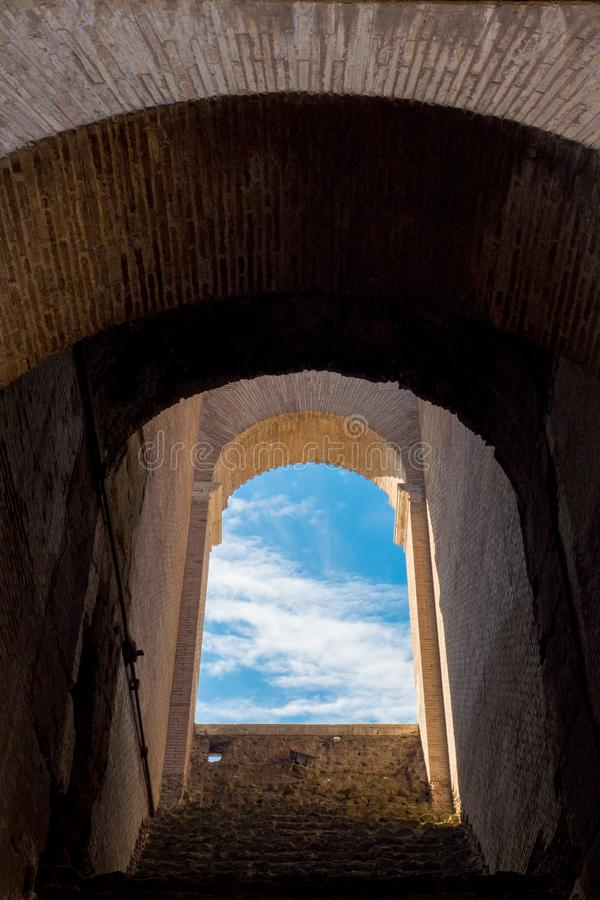 Archway inside Colosseum, Rome, Italy stock image