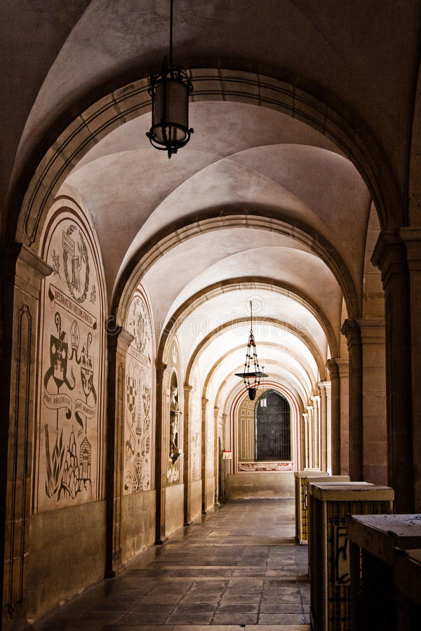 Archway in monastery. An old archway at Montserrat monastery in Spain royalty free stock images