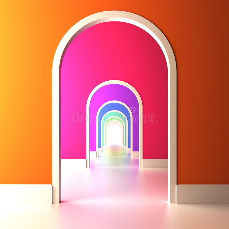 Download Archway To The Colorful Future. Stock Illustration - Illustration of gateway, color: 28444240