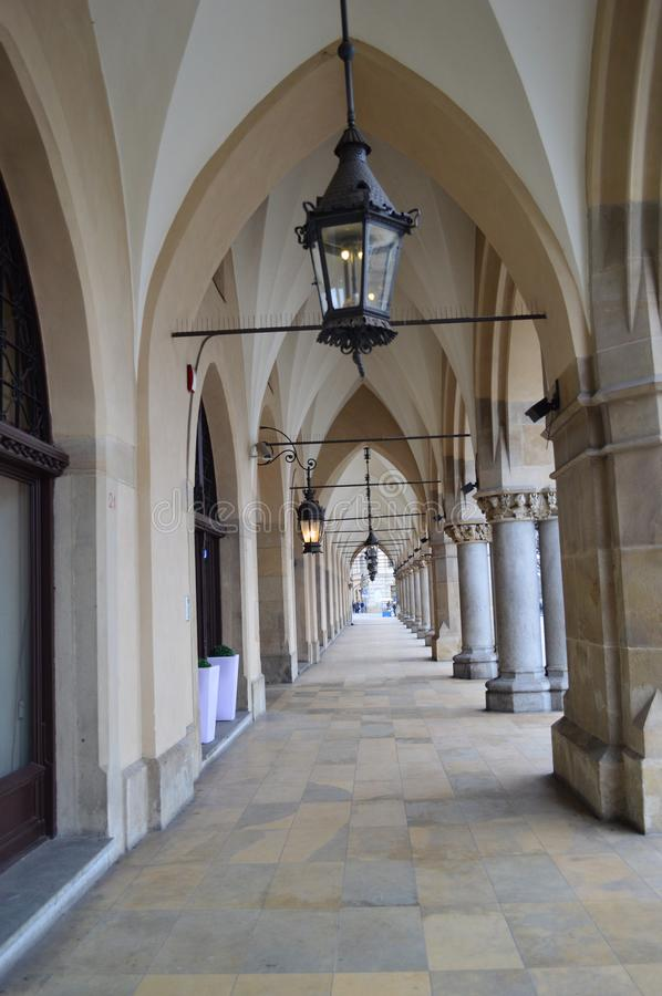 Archways at krakow Cloth Hall. Archways and porticoes of the The Kraków Cloth Hall Polish: Sukiennice, in Lesser Poland, dates to the Renaissance and is one stock images