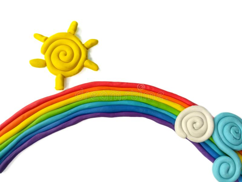 Arcilla colorida del plasticine, sol hecho a mano, natural lindo de la nube del arco iris fotos de archivo