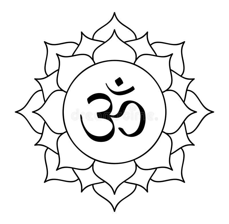 Arcilla de los mundos de la meditaci?n del canto de OM del vector de la flor del flor de Lotus stock de ilustración