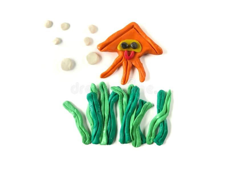 Arcilla del plasticine, calamar y pasta subacuáticos hermosos de la alga marina, animal lindo ilustración del vector