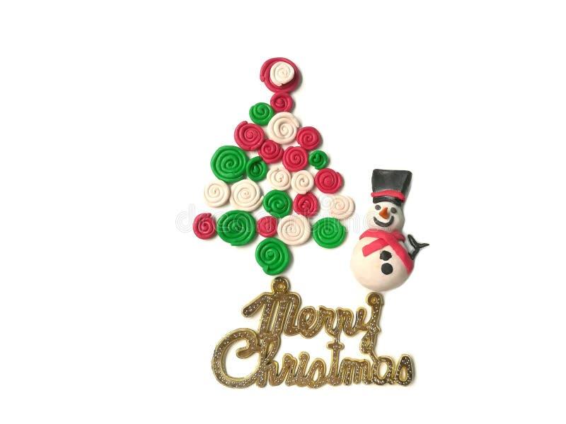Arcilla dulce del plasticine de la sonrisa del muñeco de nieve lindo, pasta espiral colorida del árbol fotos de archivo