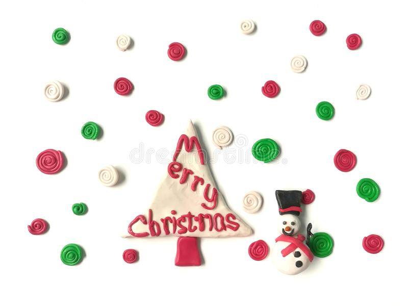 Arcilla dulce del plasticine de la sonrisa del muñeco de nieve lindo, pasta espiral colorida de la nieve imagen de archivo libre de regalías