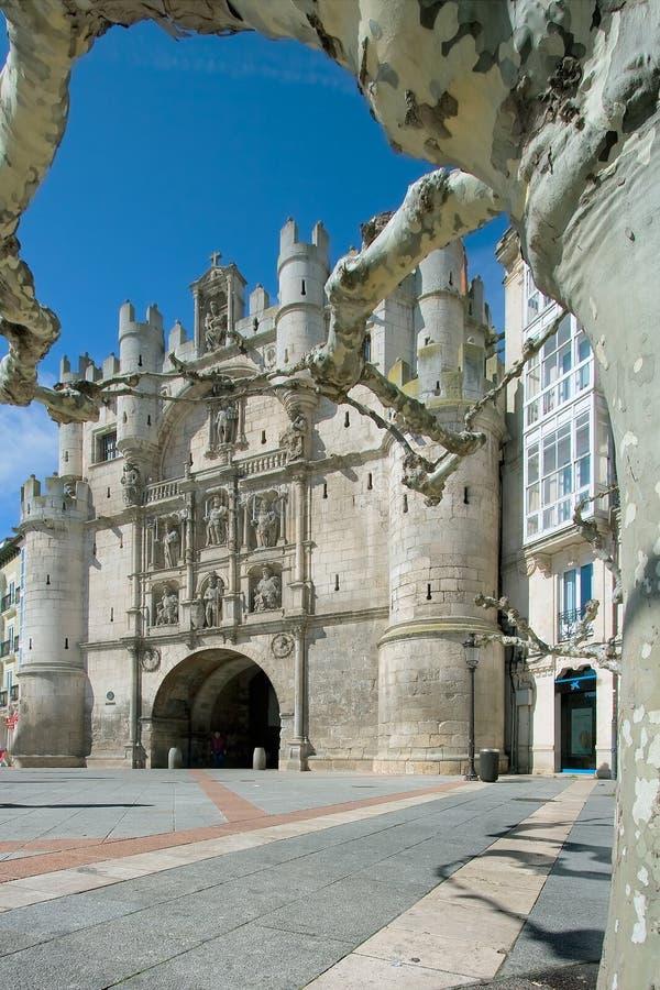 Arco布尔戈斯city de玛丽亚・圣诞老人 免版税库存照片