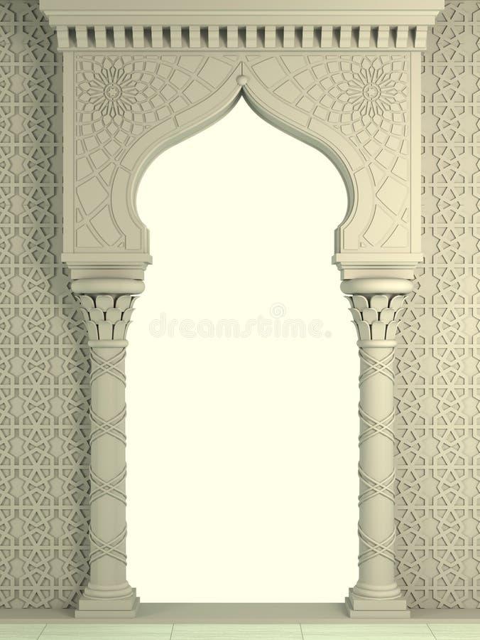 Arco ?rabe antigo do biege oriental ilustração royalty free
