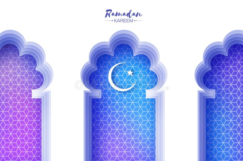 Arco árabe de la ventana en estilo del corte del papel Tarjetas de felicitación de Ramadan Kareem de la papiroflexia Modelo del A stock de ilustración