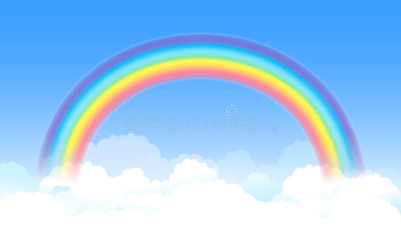 Arco-íris arqueado brilhante com céu azul e as nuvens brancas Vetor ilustração do vetor