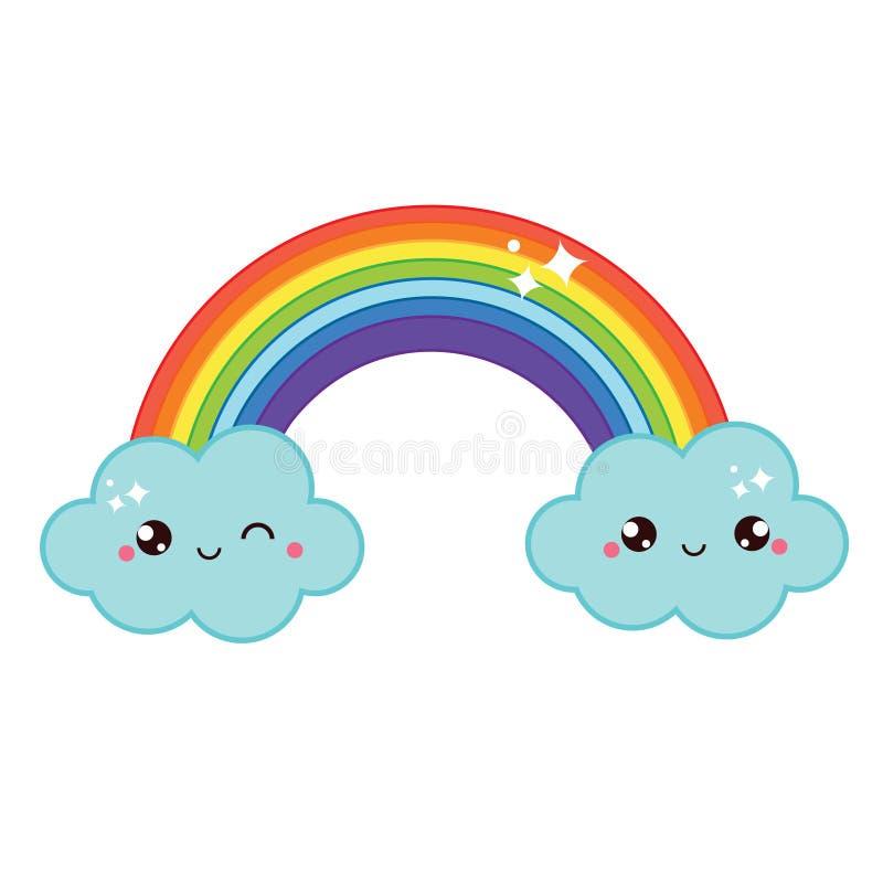 Arco-íris bonito do kawaii ilustração stock
