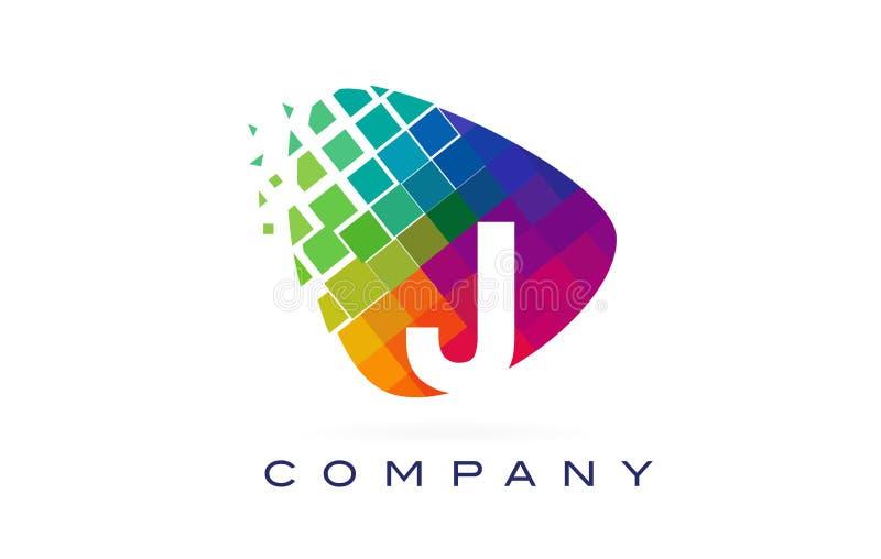 Arco-íris colorido Logo Design da letra J ilustração royalty free
