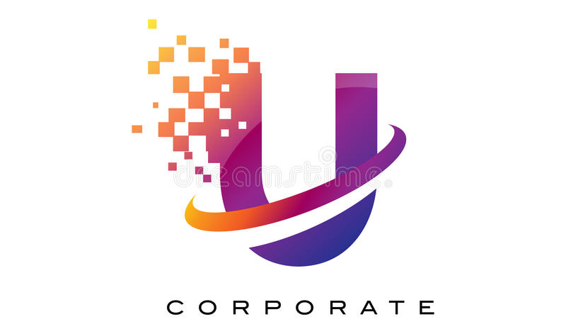 Arco-íris colorido Logo Design da letra U ilustração royalty free