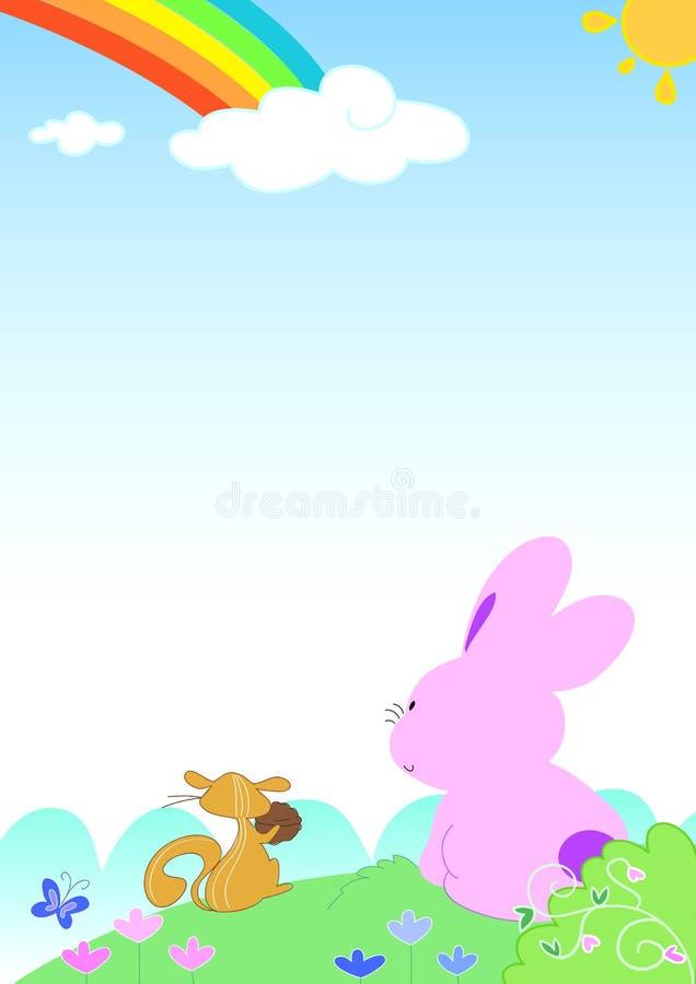 Arco-íris com animais engraçados - página vazia ilustração do vetor