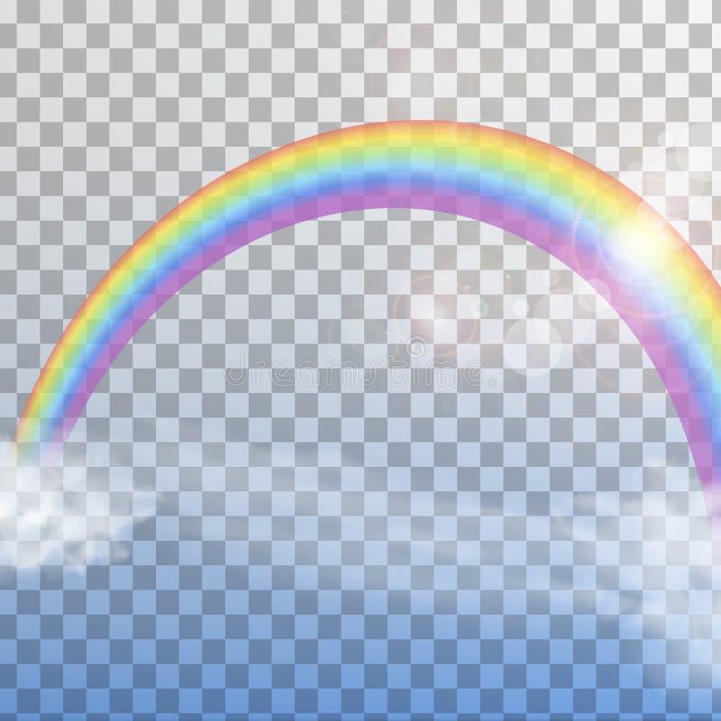 Arco-íris com as nuvens no fundo transparente ilustração do vetor