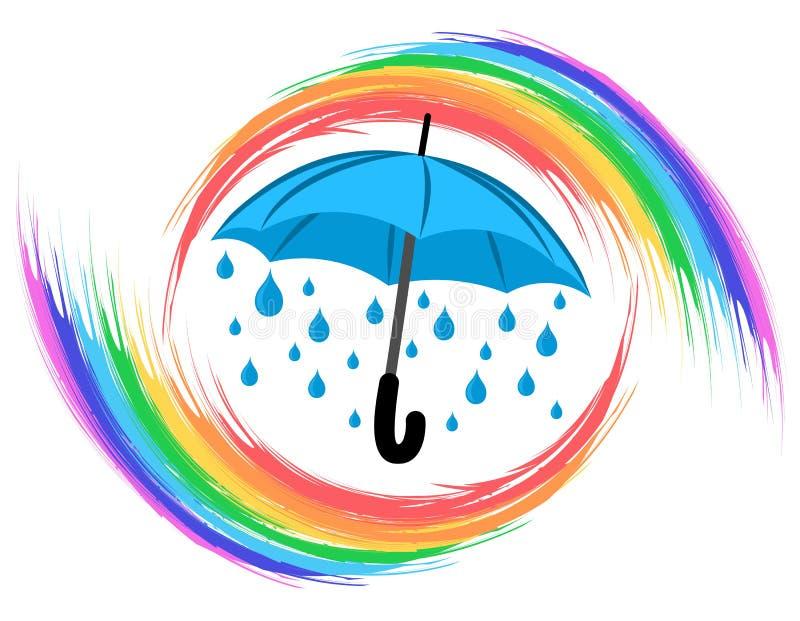 Arco-íris com guarda-chuva ilustração royalty free