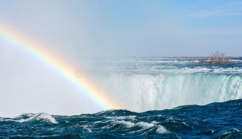 Arco-íris contra a água de pressa fotografia de stock royalty free