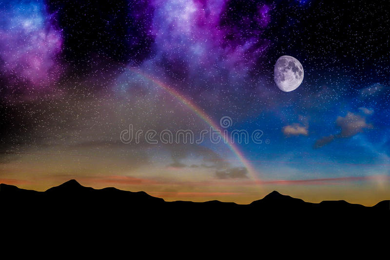 Arco-íris da noite da lua fotografia de stock royalty free