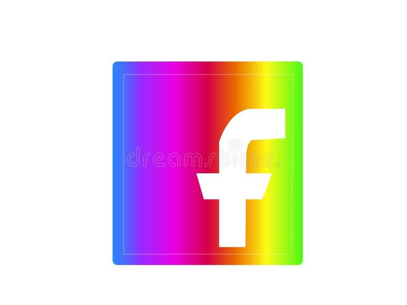 Arco-íris de Facebook imagem de stock royalty free