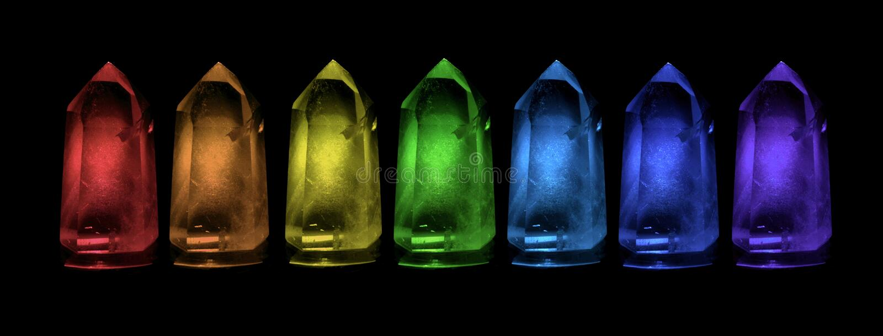Arco-íris do cristal de Reiki fotografia de stock