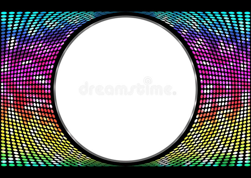 Arco-íris do espectro, fundo iridescente dos círculos Bandeira abstrata redonda no fundo preto Molde para o texto da pasta ilustração royalty free