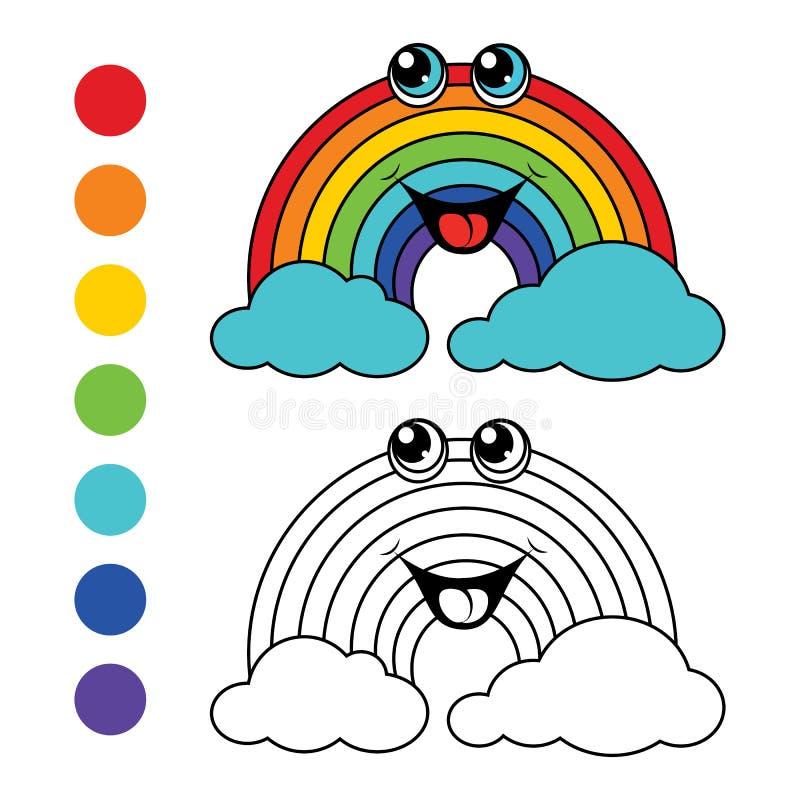 Arco-íris do livro para colorir, disposição das crianças para o jogo ilustração royalty free