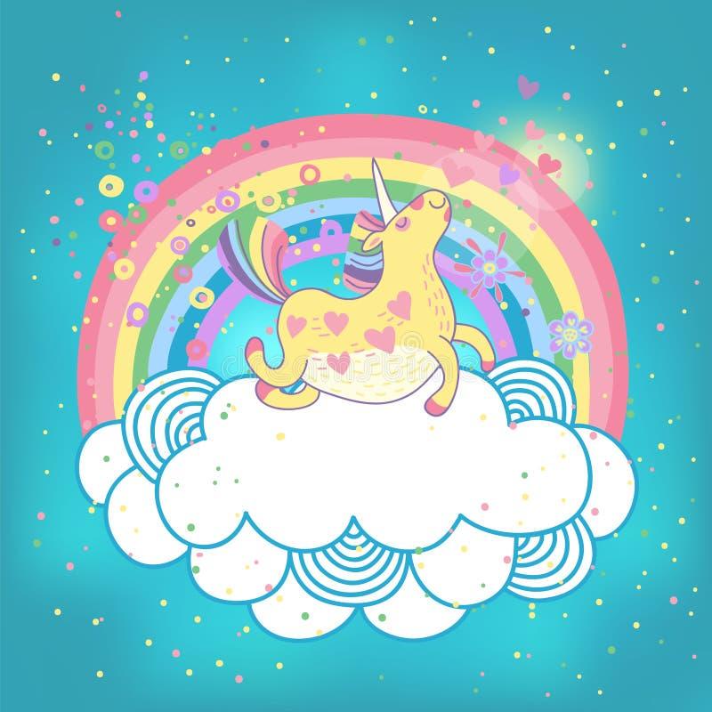 Arco-íris do unicórnio nas nuvens ilustração do vetor