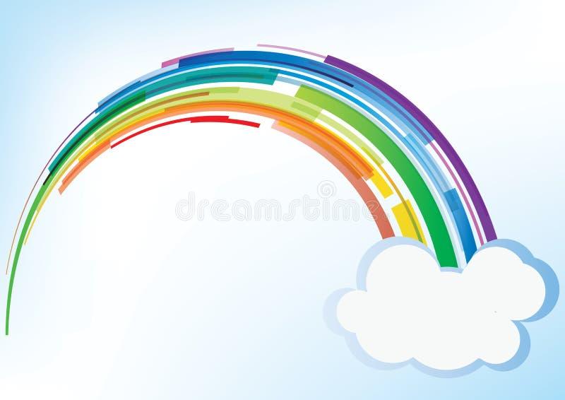 Arco-íris do vetor com nuvem ilustração stock
