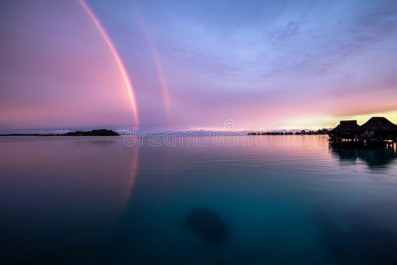Arco-íris dobro HDR Bora Bora French Polynesia fotografia de stock royalty free